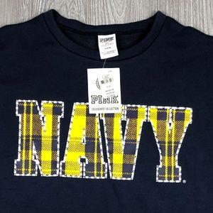 VS Pink Collegiate Collection Navy Crop Sweatshirt